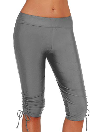 BJGXFMQ Swim Capris for Women Rash Guard Board Shorts UV Skinny Sport Bottom Swimwear Grey L