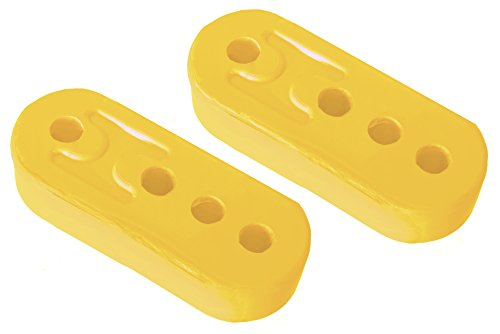 CarXX 4 Hole Exhaust Hanger Bushing Muffler Insulator Shock Absorbent High Density Rubber Universal - Pack of 2 (Yellow)