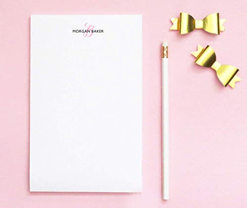 Monogrammed notepad, Personalized Monogrammed notepad, Personalized Notepad Set, Monogrammed Letter writing paper, size 5.5in x 8.5in, 50 sheets