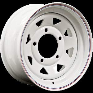 - BEARMACH - 16'' x 7White 8 Spoke Steel Wheel Part# BA015AS