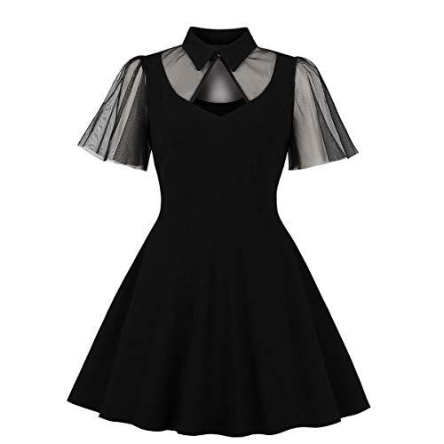 Peter Pan Halloween Makeup (Wellwits Women's Ruffle Sleeve Mesh Diamond Cutout Shirt Collar Vintage Dress)