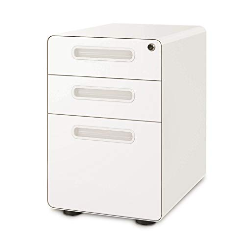 DEVAISE 3-Drawer Mobile File Cabinet with Anti-tilt Mechanism, Legal/Letter Size, White (White Cabinets Small)