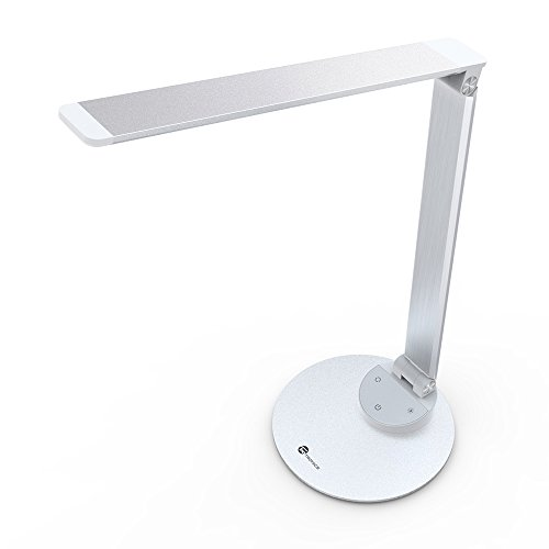 TaoTronics Desk Lamp, LED Desk Lamp with USB Charging Port, Dimmable LED Desk Lamp Eye- care, Metal, Glare-Free, 5 Color Temperatures with 5 Brightness Levels, Touch Control, Memory Function