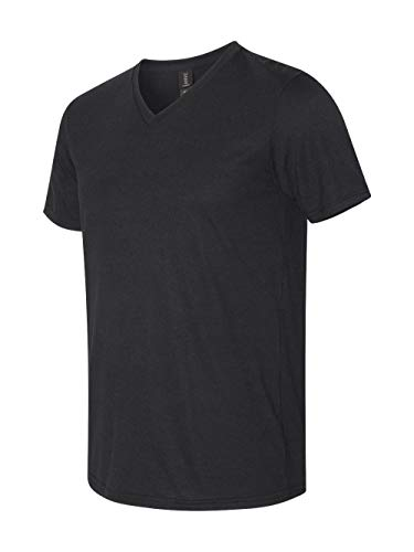 Anvil Adult Tri-Blend V-Neck T-Shirt, BLACK, L