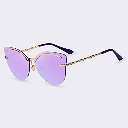 de sin de de estilo mujer para aleación C03Rosa TIANLIANG04 gafas sol espejo del vidrios gafas elegante bastidor C05Purple piernas de sol UV400 Gafas en reflectantes reborde w7T5CqA