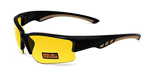 MaxxHD Sun Glasses 2017 Maxx Sunglasses SS3 Black Half Frame with Ansi Z87+ Yellow Lens -  SS3 Blk/Yellow