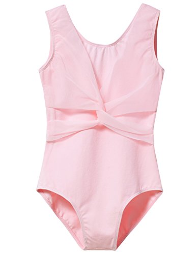 Front Cross Leotard - Leotard for Big Girls with Mesh Cross Front (Age 12-14, Ballet Pink)