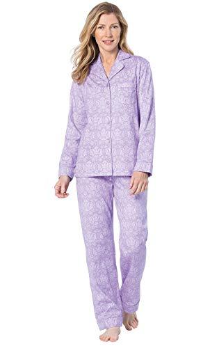 (PajamaGram Womens Pajamas - Button Down Pajamas for Women, Lavender, XL / 18)