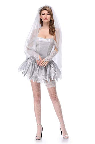 Moon Market Women Zombie Ghost Dead Bride Halloween Costume Bridal Mini Skirt Outfit (XL) Vampire hauntng Beauty Queen spilit Victorian Wedding Horror Skelton Festival Groom Skirt Outfit