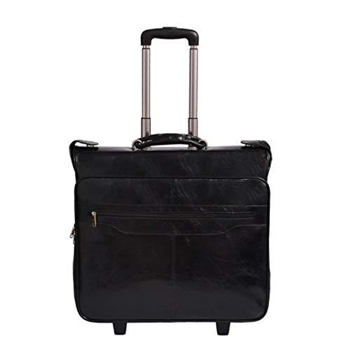 新しいビジネスメンズスーツバッグブラックPUレザートロリーバッグ (Color : ブラック)  ブラック B07QGVDGFL