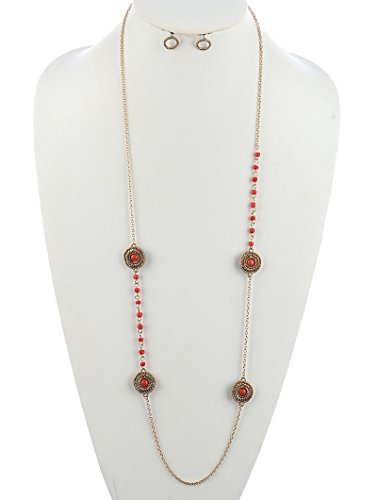 - Coral Red round multi strand necklace and earring set Fashion Jewelry FancyCharm