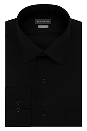 Van Heusen Men's Dress Shirts Fitted Lux Sateen Stretch Solid Spread Collar, Black, 16