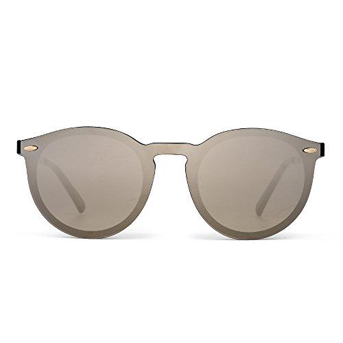 Mirrored Rimless Sunglasses Reflective One Piece Round Eyeglasses for Women Men (Shiny Black/Mirror Silver)