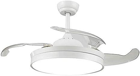 Etelux luz del Ventilador de Techo, Ventilador de Techo con luz, 106 cm de Diámetro, 65 W, 4 aspas Reversibles, 3 velocidades, 3 Colores (Blanco)