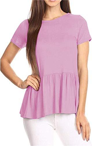 GOCHIC Women's Crew Neck Short Sleeve Ruffle Hem Peplum Tops Shirts Pink S