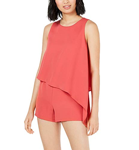 Bar III Womens Asymmetrical Tiered Romper Orange M from Bar III