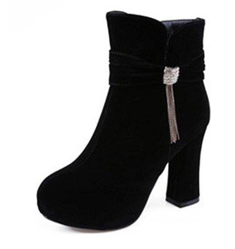 Gruesas Tacones Mujeres Casual Zapatos Cortas Martin Temperamento Botas Lateral HETAO Zapatos Personalidad Tacón Soled Botas Alto Elegantes Cremallera de Black Tacón Zapatos SZgnA4A