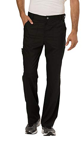 (Cherokee Men's Fly Front Pant, Black, Large)