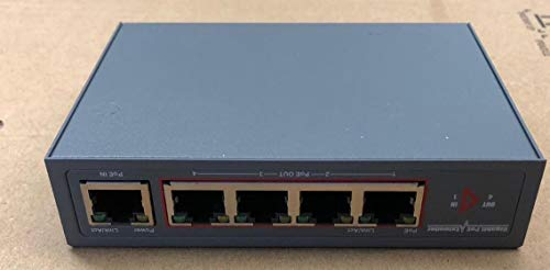 KENUCO 60W Gigabit Network PoE Extender, Ethernet Extender Kit with 4 Port PoE Out 1 PoE in + Switch Support IEEE 802.3 af/at (4 Network Port Extender Kit)