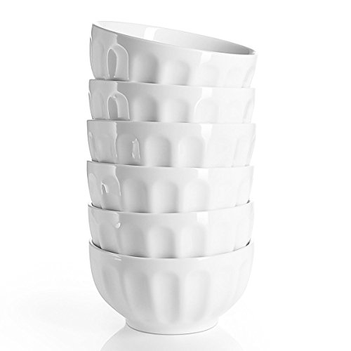 Sweese 1108 Porcelain Fluted Bowl Set - 26 OZ Deep and Microwavable for Cereal, Soup - Set of 6, White by Sweese (Image #1)