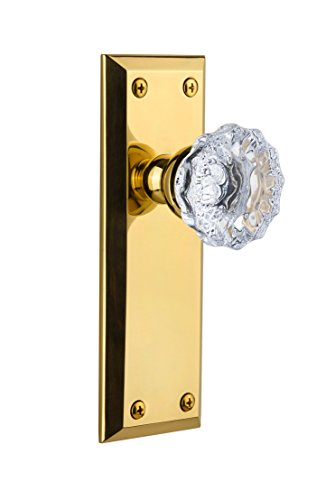 (Grandeur Fifth Avenue Plate with Fontainebleau Knob, Single Dummy, Polished Brass)