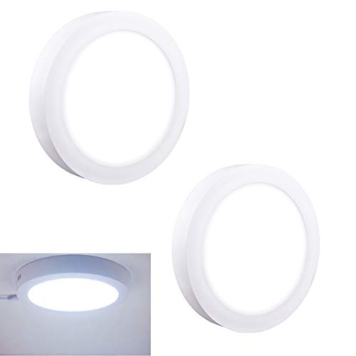 (2Pack LED Flush Mount Panel Ceiling Light Fixture-12W Soft Daylight Flat Round Surface Mounted Downlight Lamp for Closet/Hallway/Stairs/Kitchen/Basement)