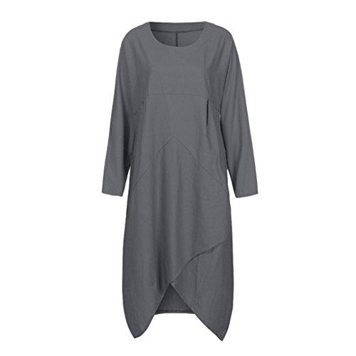 Kimodo Femmes Tunique Ample À Manches Longues Millésime Robe Longue Maxi Plus Gris Taille