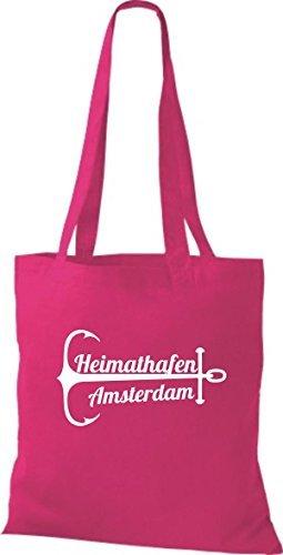shirtinstyle Bolsa de tela bolsa de algodón heimathafen Amsterdam Fucsia