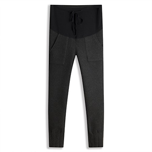 Zhhlaixing Winter Warm Pregnant Pants Thicken Plus Velvet Maternidad Leggings Trouser Dark Gray