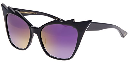 DITA Hurricane Cat Eye Shiny Black Iridium Mirrored 22025A - Sunglasses Cat Dita Eye
