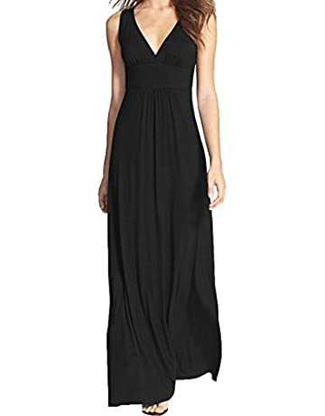 34f2cb9b01ee6 WOOSEA Women Sleeveless Deep V Neck Loose Plain Long Maxi Casual Dress