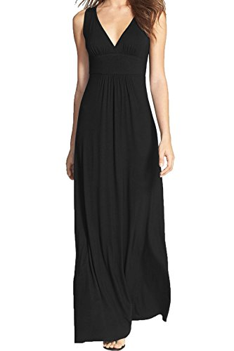 WOOSEA Women Sleeveless Deep V Neck Loose Plain Long Maxi Casual Dress (Black, Small)