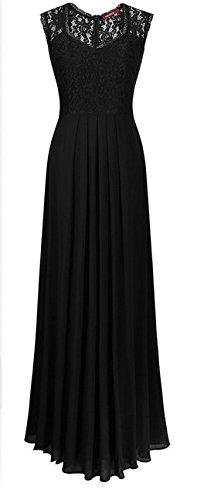 Las De Novias Mangas V Largos Vintage Para De Sin Verano Bodas Encaje Vestir Marca Dress Chiffon Vestido Negro Cuello Mujeres Elegantes Noche Cóctel Ceremonia De Maxi Fiesta Vestidos Abertura Con rqfwrT7