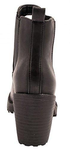 Elara Damen Chelsea Stiefel | Bequeme Stiefelette Profilsohle | Plateau Chelsea Boots | Gefüttert Schwarz 2 New