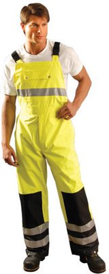 Occunomix Rainwear - OccuNomix Large H-Viz Yellow And Navy OccuLux Polyester With PU Coating Bib Pants With Sealed Seams, Elastic Suspender Straps And Silver 3M Scotchbrite Stripes