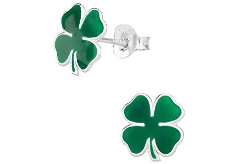 Hypoallergenic Sterling Silver Green Four Leaf Clover Shamrock Stud Earrings for Kids (Nickel Free)
