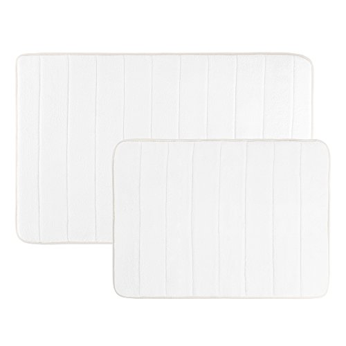 Memory Foam Bath Mats, Non Slip and Fast Dry 2 Piece Bathroom Mat Set- Absorbent Hydro Grip Designed Bath Rug By Bedford Home (White)