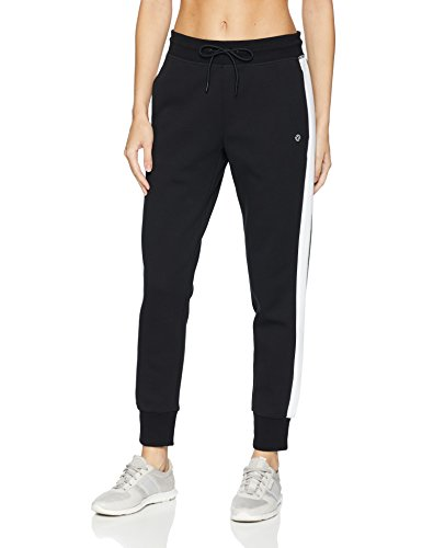 (Core 10 Women's  Motion Tech Fleece Relaxed Fit Jogger Sweatpant, Black/White, X-Large)