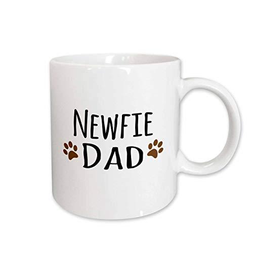 - 3dRose mug_153950_1 Newfie Dog Dad-Newfoundland Doggie by Breed-Muddy Brown Paw Prints-Doggy Lover Pet Owner Love Ceramic Mug, 11-Ounce