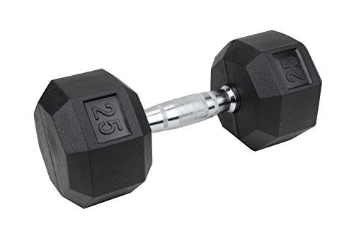 Premier Fitness Xprt Fitness Quality Rubber Coated Dumbbell with Contoured Chrome Handle 25 lb.