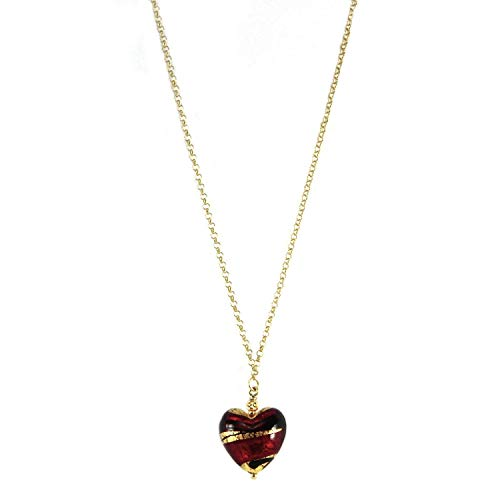 Saint Valentine's heart, necklace in 925 silver, yellow gold plated 24 kt with Murano glass heart enhanced by 24 kt gold leaf, made in Florence, Italy. CCD057/Y02