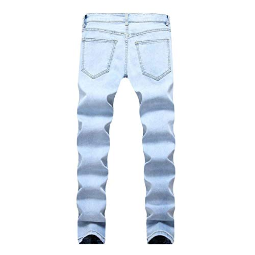 Holes Cerniera Huixin Denim Straight Ripped Pantaloni Leisure Jeans Stretch Blu Da Cher Slim Skinny Fit Casual Di Pants Zipper Cotone Uomo xt1n0qCw1