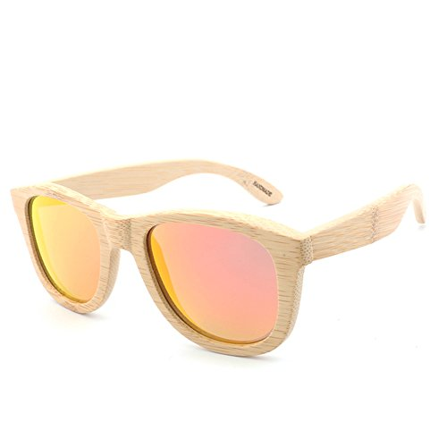 SYIWONG Mens Womens Bamboo Frame Sunglasses Polarized - Long Face For Narrow Sunglasses
