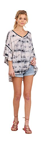 Umgee Women's Tie Dye Bell Sleeve Tunic (Large, (Midnight Tie Dye)