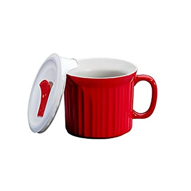 Corningware 20-Ounce Oven Safe Meal Mug with Vented Lid, Tomato