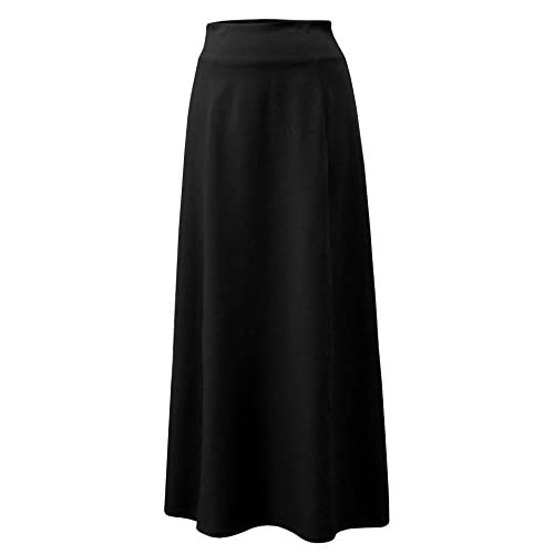 Baby'O Women's Stretch Cotton Knit Panel Maxi A-Line Skirt for sale