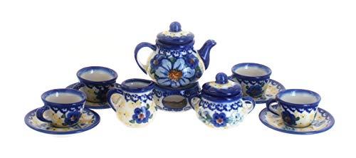 OKSLO Blue rose polish pottery daisy surprise miniature tea set (Polish Pottery Miniature Tea Set)
