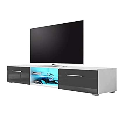 promo code 166c1 4cff9 Selsey Edith - TV Stand / Modern TV Cabinet (140cm, Matte White / Grey  Gloss Front Panels with LED Lighting)