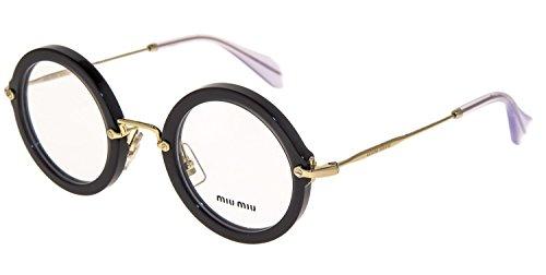 eb100f29fa1c MIU MIU MU06NV Round Eyeglasses Optical Frame Opal Black 45mm 06N