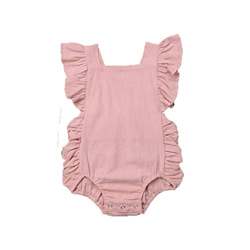 Weixinbuy Toddler Baby Girls Flutter Sleeve Solid Color Summer One-Piece Romper Overall Clothes Outfits Pink (White Infant One Piece)